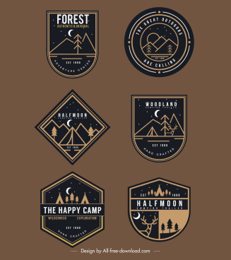 adventure badge templates elegant dark shapes nature sketch