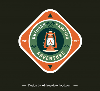 adventure camping badge template flat classic light logotype