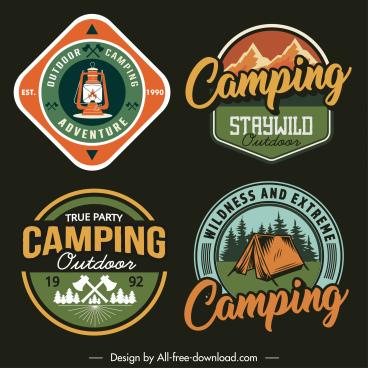 adventure camping labels templates flat retro design