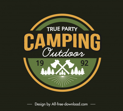 adventure camping logo template classical flat sketch