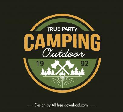 adventure camping logo template classical flat sketch