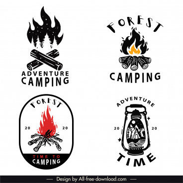 adventure camping logo templates classical firewood light sketch