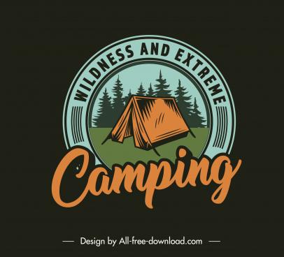 adventure camping logotype dark classic design tent sketch