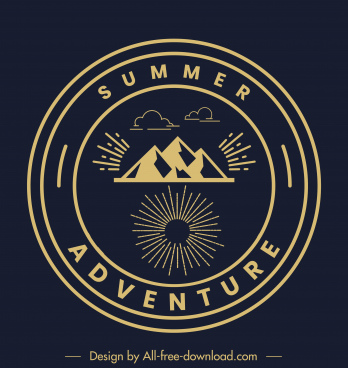 adventure camping logotype dark classic flat mountain design
