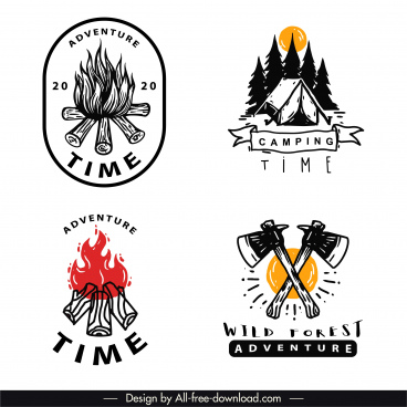 adventure camping logotypes classical handdrawn emblems sketch