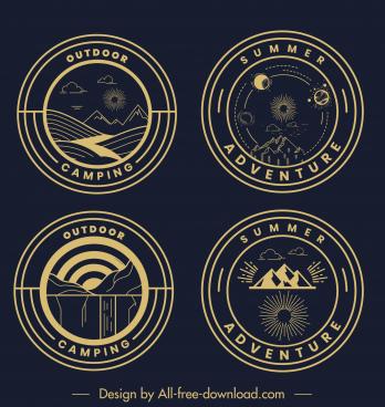 adventure camping logotypes dark flat circles classic design
