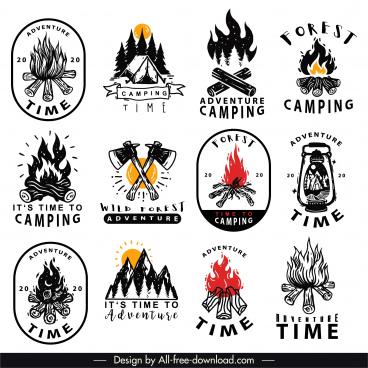adventure camping logotypes retro handdrawn sketch