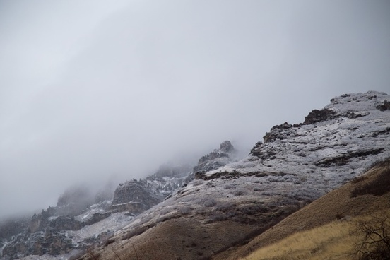 adventure cold daytime fog hiking landscape mountain