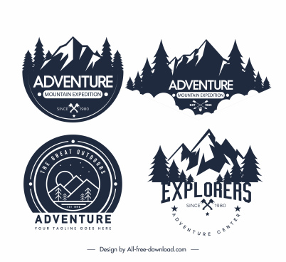 adventure exploration camp logotypes black white retro sketch