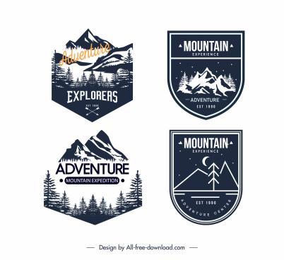 adventure exploration camping logotypes retro dark design