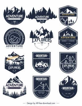 adventure label logo templates classical flat sketch