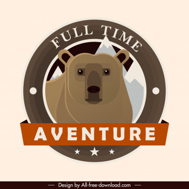 adventure label template wild bear sketch classic design