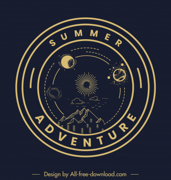 adventure logo template dark circle mountain planets sketch