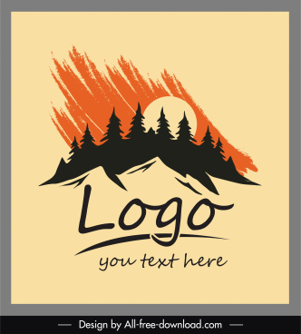 adventure logo template grunge silhouette mountain tree sketch