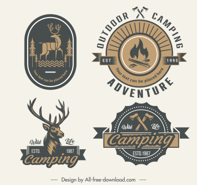 adventure logo templates retro emblems sketch