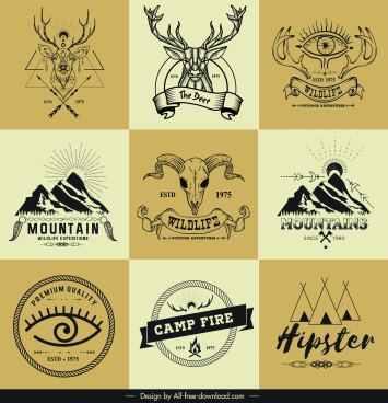adventure logo templates retro mountain reindeer tent sketch