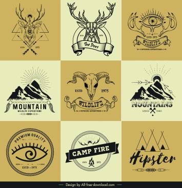 adventure logo templates retro mountain reindeer tent sketch