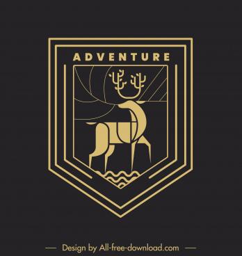 adventure logotype dark classic flat design reindeer sketch