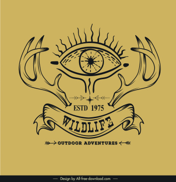 adventure logotype eye antlers ribbon sketch retro design