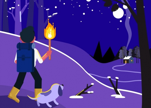 adventure painting hiker torch icons cartoon design