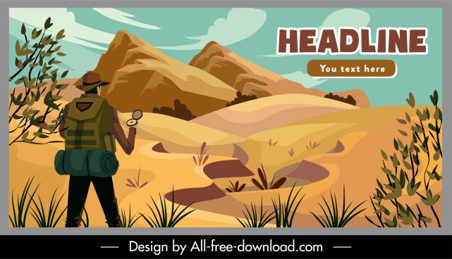 adventure poster mountaineer nature landscape cartoon design