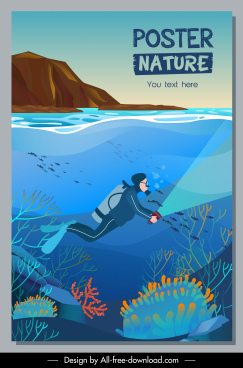 adventure poster template diving activity sketch colorful design