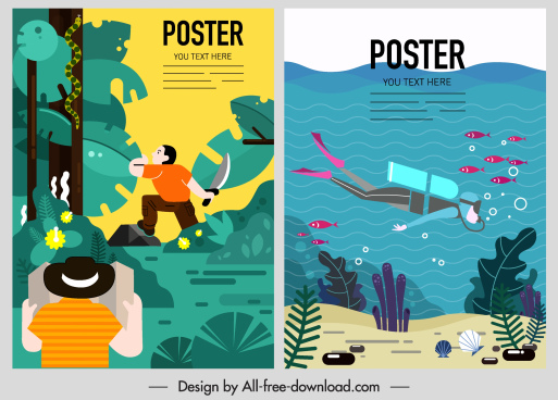adventure poster templates forest marine exploration themes