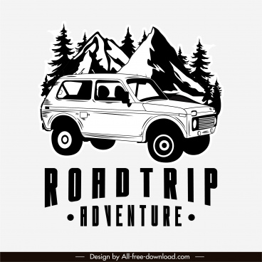 adventure road trip banner black white classic design