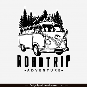 adventure road trip logo classic bus sketch