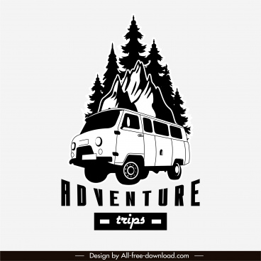adventure road trip logotype black white classic design