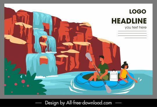 adventure travel banner cascade boating activity cartoon sketch