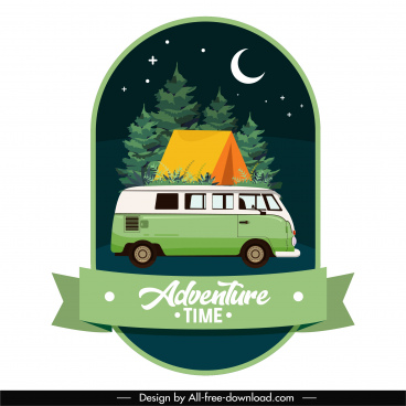 adventure travel banner template night time tent bus