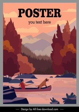 adventure travel poster boat stream sketch cartoon design