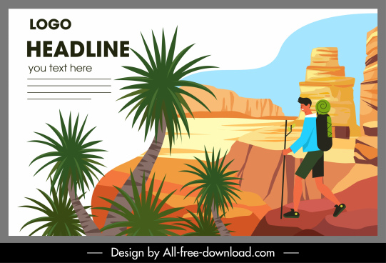 adventure trip banner mountaineer sketch cartoon design