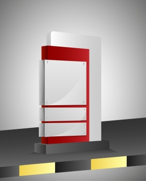 advertising panel design white blank vertical style