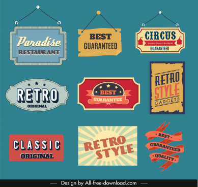 advertising sign templates retro shapes sketch