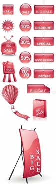 sales tags templates shiny red shapes design