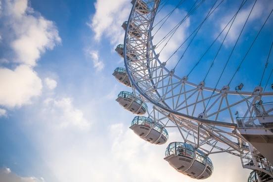 aerial amusement architecture big city cloud