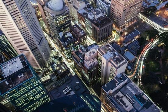 aerial building business city design down futuristic