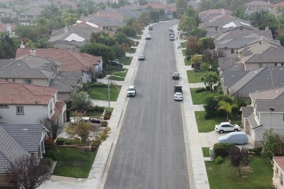 aerial view of neighborhood street