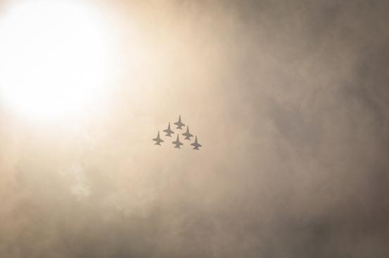 aeroplane airplane bloom cloud jet military mist