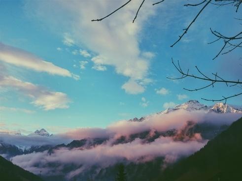 aeroplane airplane cloud evening fog forest
