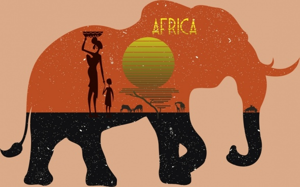 africa advertisement tribal people sun land elephant icons