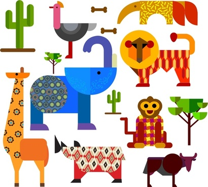 africa animals and plants design with geometric flat