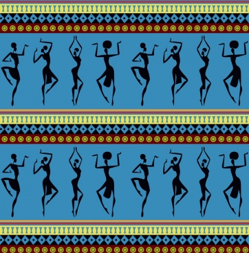 africa background dancing human silhouette repeating style
