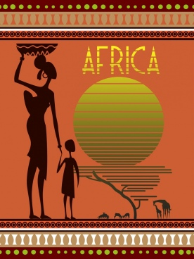 africa background decor human animals silhouette icons