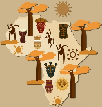 africa background map national symbols decor