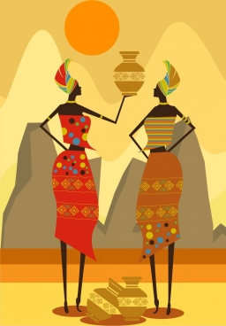 africa background tribe woman vase icons yellow design