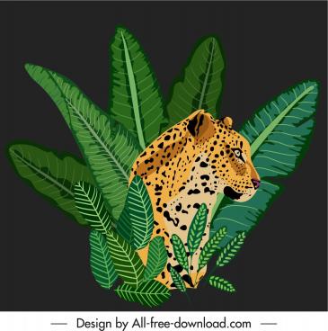 africa decor element leaves leopard sketch dark design