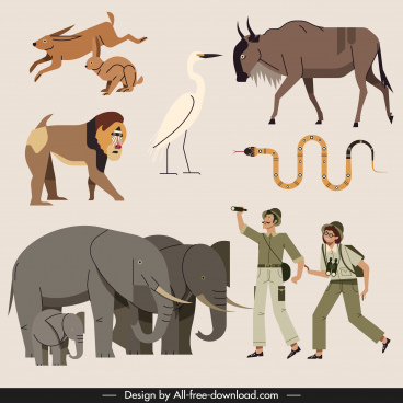 africa design elements animals explorers icons sketch